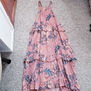 Free People Cotton  Mauve Printed Maxi Dress